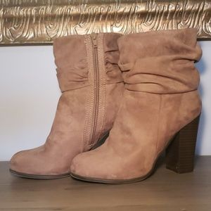 Brown Suede Booties - Size 7.5